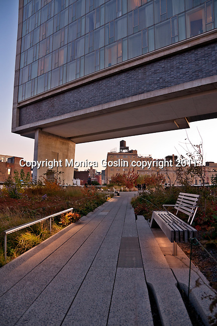 The Standard Hotel in New York City with the Highline, an elevated public park on and old railway line, passing under it