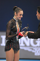 September 11, 2009; Mie, Japan;  Anna Bessonova of Ukraine receives Longines Prize for Elegance before the individual All Around awards ceremony at the 2009 World Championships Mie, Japan. Anna (the 2007 Patras world champion) placed 3rd in the AA final on this day at Mie.  Photo by Tom Theobald. .