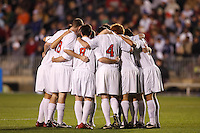 Ohio State Buckeyes huddle before the start of an NCAA College Cup semi-final match at SAS Stadium in Cary, NC on December 14, 2007. Ohio State defeated Massachusetts 1-0.