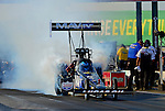 May 18, 2012; Topeka, KS, USA: NHRA top fuel dragster driver Brandon Bernstein during qualifying for the Summer Nationals at Heartland Park Topeka. Mandatory Credit: Mark J. Rebilas-