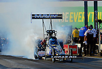 May 18, 2012; Topeka, KS, USA: NHRA top fuel dragster driver Brandon Bernstein during qualifying for the Summer Nationals at Heartland Park Topeka. Mandatory Credit: Mark J. Rebilas-