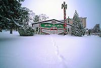 Kwakwaka'wakw (formerly Kwakiutl) Style Longhouse and Totem Pole in Thunderbird Park, Victoria, Vancouver Island, British Columbia, Canada, in Winter