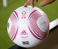 CARSON, CA – OCTOBER 9: The Breast Cancer design ball used at the Home Depot Center, October 9, 2010 in Carson California. Final score Chivas USA 3, Toronto FC 0.