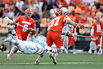 29 April 2016: Syracuse's Drew Jenkins (37) wins a draw against North Carolina's Stephen Kelly (24). The University of North Carolina Tar Heels played the Syracuse University Orange at Fifth Third Bank Stadium in Kennesaw, Georgia in a 2016 Atlantic Coast Conference Men's Lacrosse Tournament semifinal match.