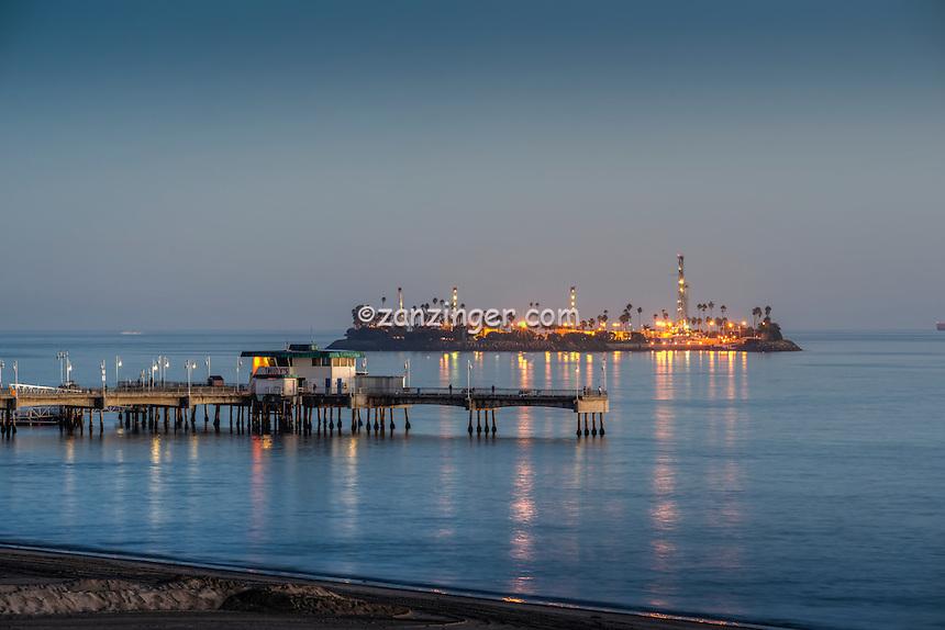 THUMS Island White, artificial island, San Pedro Bay, coast of Long Beach, California