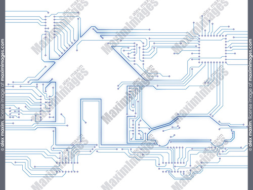 Connected house and electric car future home automation household technology conceptual illustration isolated on white background