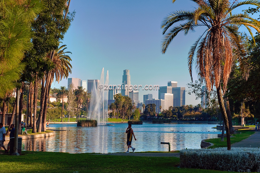 Echo, Park, Lake, Echo Park, Los Angeles, CA, Downtown, Los Angeles, Skyline,