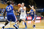 17 November 2012: Duke's Haley Peters (33) shoots between Presbyterian's Keyonna Allen (21) and Karlee Taylor (10). The Duke University Blue Devils played the Presbyterian College Blue Hose at Cameron Indoor Stadium in Durham, North Carolina in an NCAA Division I Women's Basketball game. Duke won the game 84-45.