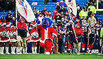 20 December 2009: Buffalo Bills' mascot Billy Buffalo, decked out in Santa Clause attire, leads the team onto the field prior to a game against the New England Patriots at Ralph Wilson Stadium in Orchard Park, New York. The Patriots defeated the Bills 17-10. Mandatory Credit: Ed Wolfstein Photo