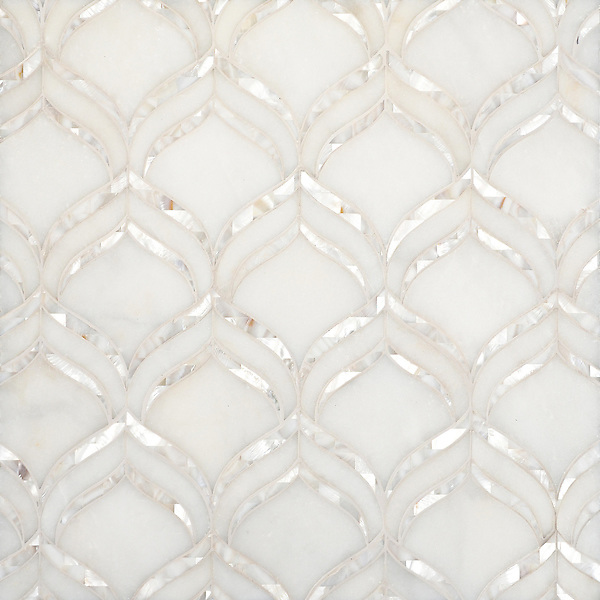 Adonis, a waterjet mosaic shown in honed Afyon White and Shell, is part of the Aurora™ Collection by Sara Baldwin for New Ravenna.