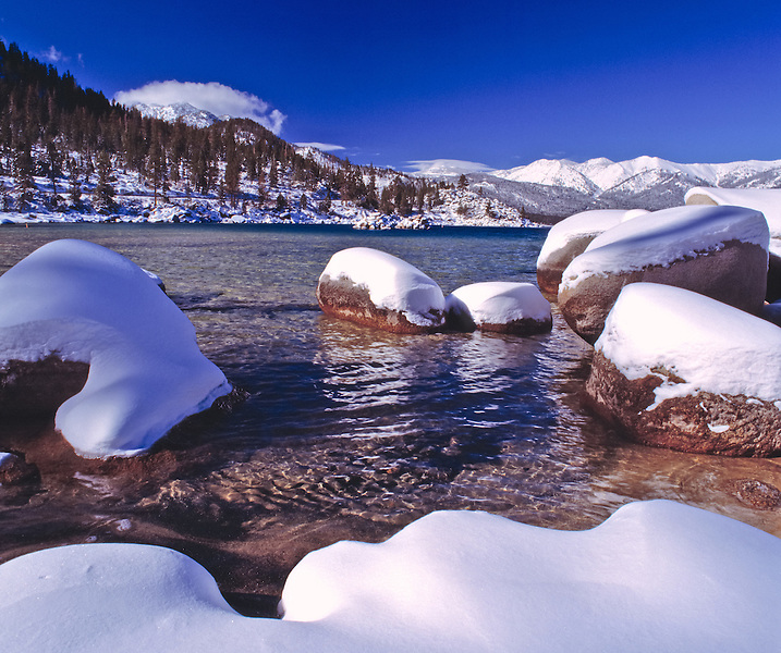 Lake Tahoe Landscape Winter Rocks