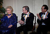 Singer Neil Diamond (C) and musician Yo-Yo Ma (R) clap for actress Barbara Cook during a Kennedy Center Honors reception in the East Room of the White House, Sunday, December 4, 2011 in Washington, DC.  For their life's accomplishments and contributions to the arts actress Meryl Streep, singer Neil Diamond, actress Barbara Cook, musician Yo-Yo Ma, and musician Sonny Rollins where etched recognized as this year's recipients of the Kennedy Center Honors..Credit: Brendan Smialowski / Pool via CNP
