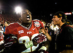 Commissioned by United Press International<br /> <br /> Telvin Smith celebrates winning the BCS national title game at the Rose Bowl in Pasadena, California on January 6, 2014.