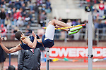 Joshua Houston of the Naval Academy fails to clear the bar during the College Men's High Jump at the Penn Relays athletic meets Friday, April 27, 2012 in Philadelphia, PA.