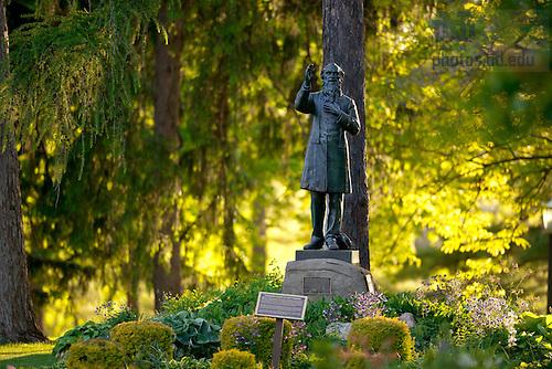 """May 10, 2012; Statue of Rev. William Corby, C.S.C., known as """"Fair Catch Corby.""""..Photo by Matt Cashore/University of Notre Dame"""