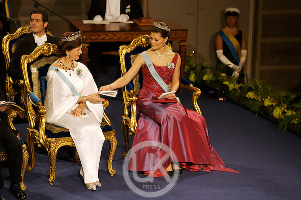 The Swedish Royal Family attend The Nobel Prize Award Ceremony at Stockholm Concert Hall, in Sweden..Queen Silvia, and Crown Princess Victoria of Sweden attend.