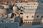 View of the Doge's Palace and Saint Mark's Basilica in Venice, Italy from the St. Mark's Campanile bell tower