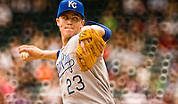 Zach Greinke, Kansas City Royals pitcher. Photographed at Rangers Ballpark in Arlington, April 2008. © 2008 Darren Carroll.