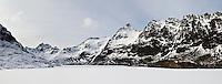 Lake Ågvatnet covered in winter snow, Å I Lofoten, Moskenesøya, Lofoten islands, Norway