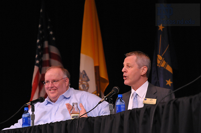 "Scott Malpass and Joe Holt take part in a panel discussion for ""Notre Dame Perspectives"" at Reunion 2009...Photo by Matt Cashore/University of Notre Dame"