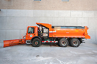 A salt spreader equipped with a plow awaits this weekends winter snowstorm at the New York City Dept. of Sanitation Salt Shed Thursday, January 21, 2016. The city is expecting blizzard conditions with gale force winds with up to 12 inches of snow starting Saturday in Sunday.   (© Richard B. Levine)