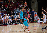 STANFORD, CA - December 4, 2016: Briana Roberson at Maples Pavilion. Stanford defeated UC Davis, 68-42. The Cardinal wore turquoise uniforms to honor Native American Heritage Month