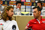 World Champion Peter Sagan (SVK) Bora-Hansgrohe and Vincenzo Nibali (ITA) Bahrain-Merida at the top riders press conference on the eve of the race of the two seas, 52nd Tirreno-Adriatico by NamedSport running from the 8th to 14th March, Italy. 7th March 2017.<br /> Picture: La Presse/Fabio Ferrari | Cyclefile<br /> <br /> <br /> All photos usage must carry mandatory copyright credit (&copy; Cyclefile | La Presse)
