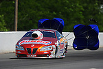 May 5, 2012; Commerce, GA, USA: NHRA pro stock driver Jason Line during qualifying for the Southern Nationals at Atlanta Dragway. Mandatory Credit: Mark J. Rebilas-