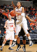 Dec. 18, 2010; Charlottesville, VA, USA;  Virginia Cavaliers guard Ataira Franklin (23) grabs the rebound in front of Virginia Cavaliers guard Lexie Gerson (14)during the game against the UMBC Retrievers at the John Paul Jones Arena. Virginia won 61-46. Mandatory Credit: Andrew Shurtleff-