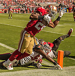 San Francisco 49ers running back Shaun Draughn (24) makes touchdown pass on Sunday, October 23, 2016, at Levis Stadium in Santa Clara, California. The Buccaneers defeated the 49ers 34-17.