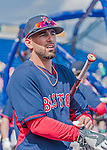 8 March 2015: Boston Red Sox infielder Deven Marrero awaits his turn in the batting cage prior to a Spring Training game against the New York Mets at Tradition Field in Port St. Lucie, Florida. The Mets fell to the Red Sox 6-3 in Grapefruit League play. Mandatory Credit: Ed Wolfstein Photo *** RAW (NEF) Image File Available ***