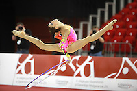 Moran Buzovski of Israel split leaps with hoop at 2009 Budapest World Cup on March 7, 2009 at Budapest, Hungary.  Photo by Tom Theobald.