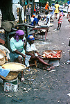 Road side meat seller. Images of the capital,Port au Prince, Haiti 1975