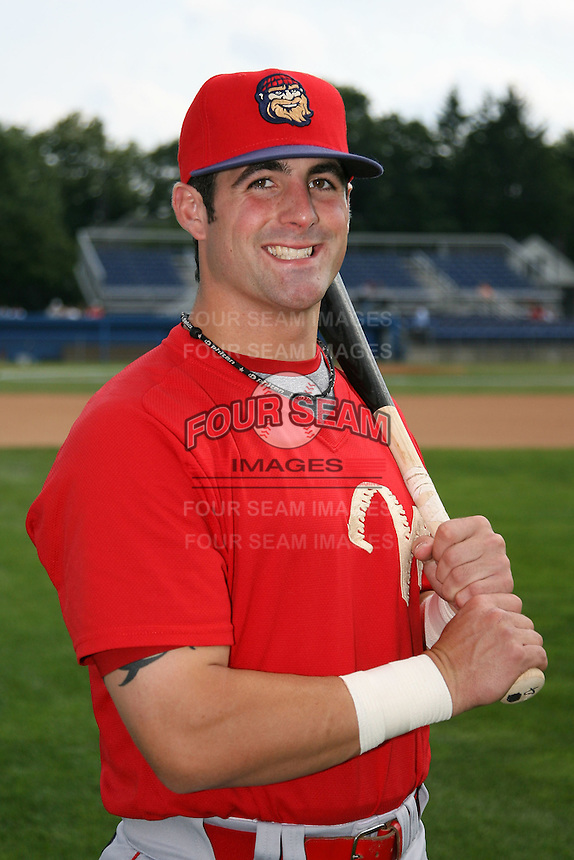 August 2, 2009:  Designated Hitter Ryan Gugel (4) of the Williamsport Crosscutters poses for a photo before game at Dwyer Stadium in Batavia, NY.  Williamsport is the NY-Penn League Short-Season Class-A affiliate of the Philadelphia Phillies.  Photo By Mike Janes/Four Seam Images