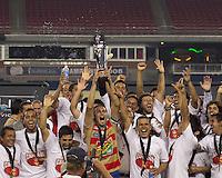 Monarcas Morelia celebrates with the SuperLiga 2010 trophy. Monarcas Morelia defeated the New England Revolution, 2-1, in the SuperLiga 2010 Final at Gillette Stadium on September 1, 2010.