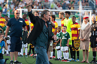 HEMPSTEAD, NY - AUGUST 3: Former Cosmos goalkeeper, Shep Messing, introduced prior to the New York Cosmos' home opener against the Fort Lauderdale Strikers on August 3, 2013 at Hofstra University's Shuart Stadium in Hempstead, NY.