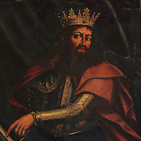 Portrait of King Peter I of Portugal, 1320-67, known as Peter the Just or Pedro o Justiceiro, 8th King of Portugal, 1357-67, in the Great Room of Acts, or Sala dos Capelos, or Red Room, decorated in the 17th century by master builder Antonio Tavares and reworked in the 18th century, at the University of Coimbra in the royal palace or Paco Real, Coimbra, Portugal. The University of Coimbra was first founded in 1290 and moved to Coimbra in 1308 and to the royal palace in 1537. The buildings are listed as a historic monument and a UNESCO World Heritage Site. Picture by Manuel Cohen