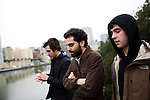 From left, Jon Bafus, Payam Bavafa, and Eric Ruud of Sholi walk by Lake Merritt in Oakland, CA December 21, 2008.