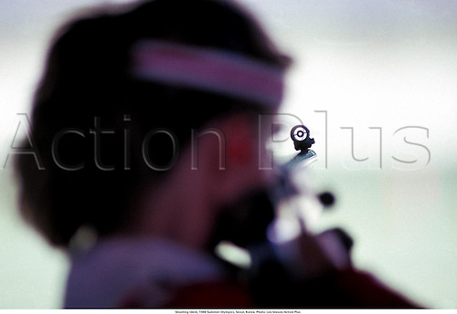 Shooting Ident, 1988 Summer Olympics, Seoul, Korea. Photo: Leo Mason/Action Plus...Rifle gun sight sights idents detail