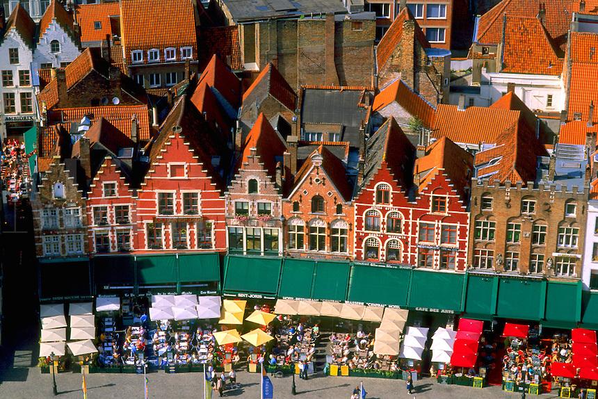 Belgium Market Place in center cafes taken from Belfort 337 steps above center the colorful city of Bruges
