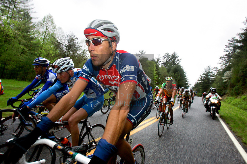 Mariano Friedick, of Toyota-United Pro, rides in the pack during Stage 5 of the Ford Tour de Georgia. Tom Danielson, of the Discovery Channel Pro Cycling Team, won the 94.5-mile (152.1-km) stage from Blairsville to the top of Brasstown Bald, the highest point in the state.<br />