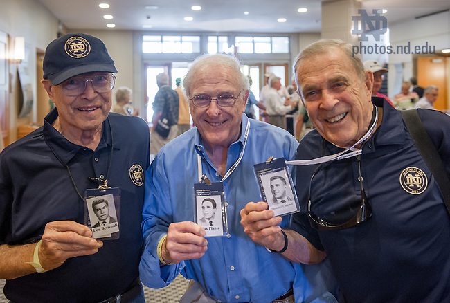May 30, 2014; Reunion 2014: Members of the Class of 1954 hold the photos of themselves from the Dome. Photo by Matt Cashore/University of Notre Dame