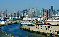 Newton Creek, Queens and Manhattan Skyline , New York City, NY