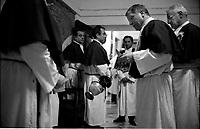 Roma  Luglio 2001.Venerabile Arciconfraternita Di Maria Ss. Del Carmine In Trastevere a Roma fondata nell' anno 1538.. Confratelli prima della processione.<br /> http://www.arciconfraternitadelcarmine.it/