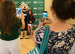 Allison Saraniti, an incoming freshman, takes a photo with Rufus during Bobcat Student Orientation on June 14, 2016. © Ohio University / Photo by Kaitlin Owens