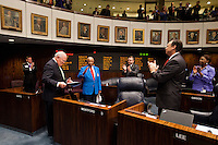 TALLAHASSEE, FLA. 5/3/13-SESSIONEND050313CH-Tuskegee Airman Cornelius Davis, who now lives in Blountstown, is honored for his service during World War II by Sen. Bill Montford, D-Tallahassee, left, and members of the Senate, May 3, 2013 at the Capitol in Tallahassee..COLIN HACKLEY PHOTO