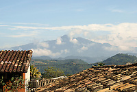 View of Celaque Mountain from the Spanish colonial town of Gracias, Lempira, Honduras.