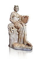 2nd century AD Roman statue of the muse of comedy, Thalia, with a tympanum and a comic mask. A Roman copy of a 4th century BCHellenistic statue, inv 295, Vatican Museum Rome, Italy,  white background