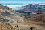 The crater of Mt. Haleakala, Maui's dormant volcano, as seen from the rim near the Visitors' Center, elevation 10,000 feet. The crater is about 7 miles long and over 2 miles wide.