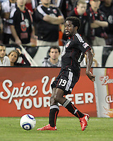 Clyde Simms #19 of D.C. United during an MLS match against the San Jose Earthquakes at RFK Stadium in Washington D.C. on October 9 2010. San Jose won 2-0.